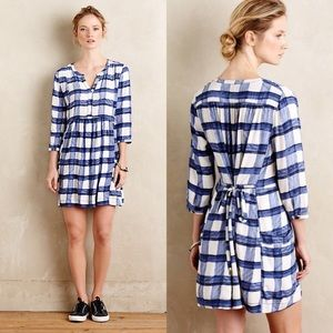 Anthropologie Maeve Devery Windowpane Shirtdress